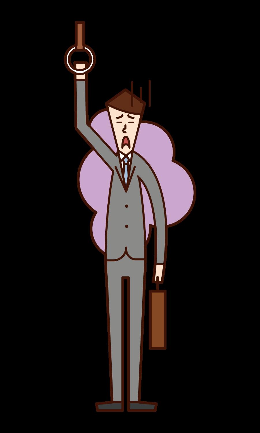피곤한 사무직 근로자(남성)의 일러스트