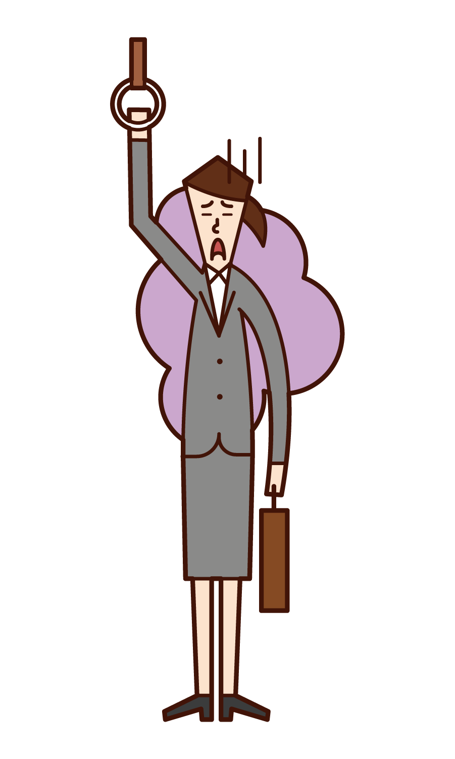 Illustration of a tired company employee (woman)