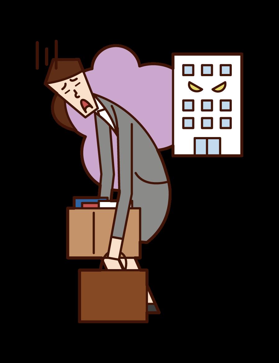 会社を解雇された人(女性)のイラスト