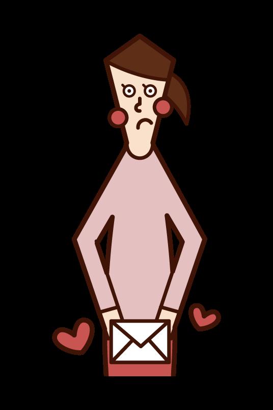 ラブレターを渡す人(女性)のイラスト
