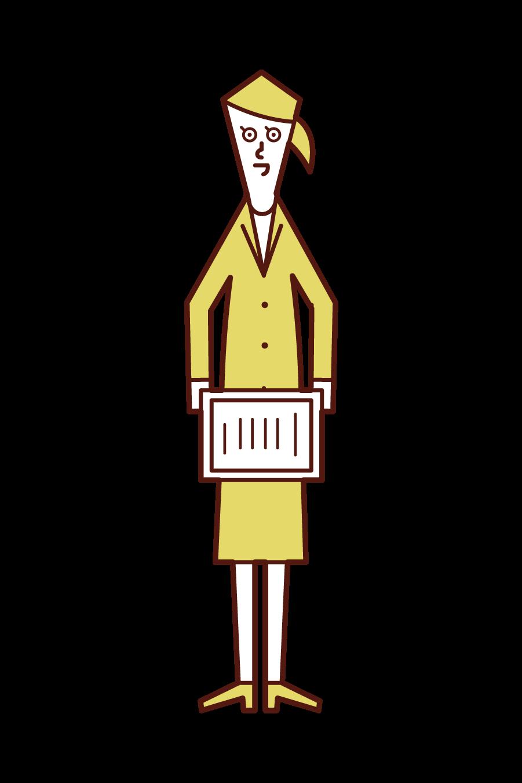 表彰状を手渡す人(女性)のイラスト