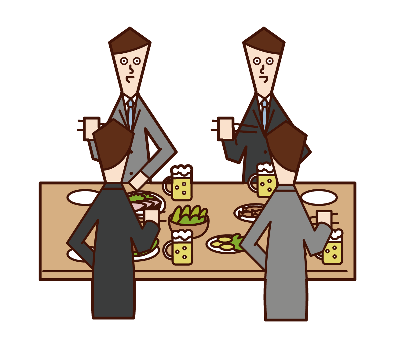Illustration of a man enjoying a meal at a drinking party