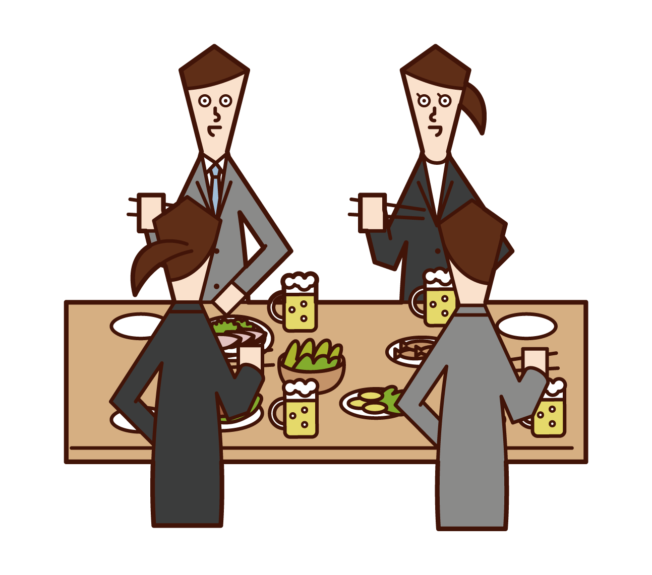 Illustration of people (men and women) enjoying a meal at a drinking party