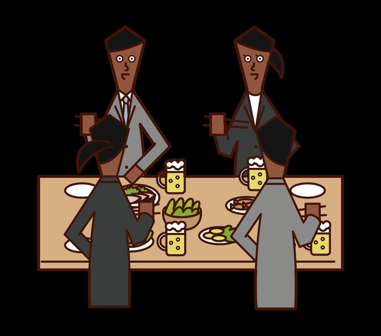 飲み会で食事を楽しむ人たち(男女)のイラスト