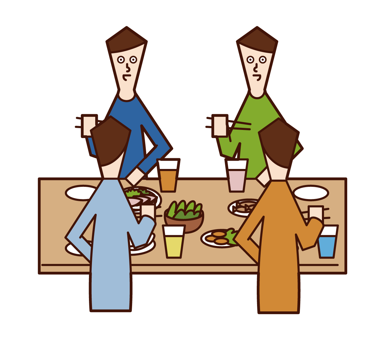 Illustrations of people (men) enjoying lunch