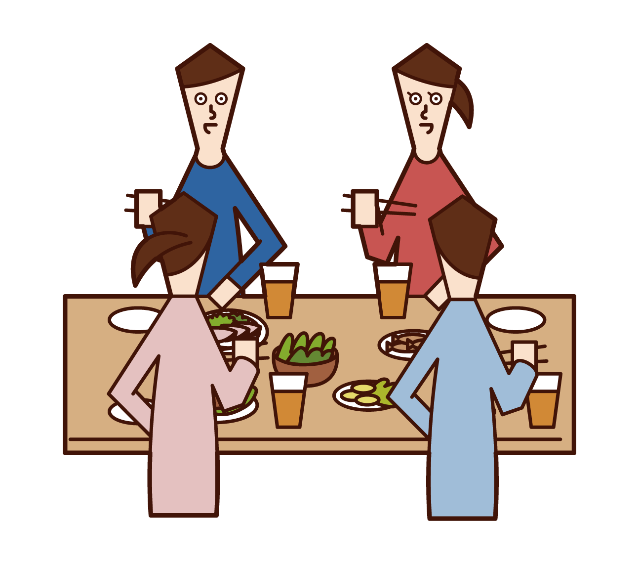 Illustrations of people (men and women) enjoying lunch