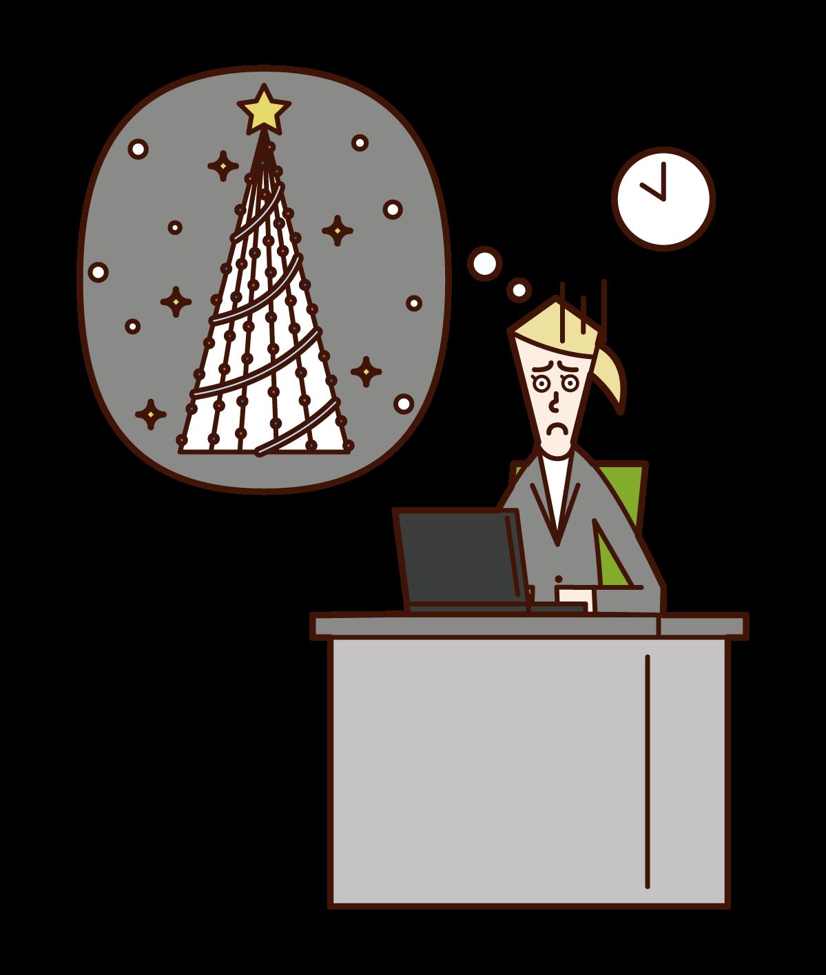 クリスマスに仕事をする人(女性)のイラスト