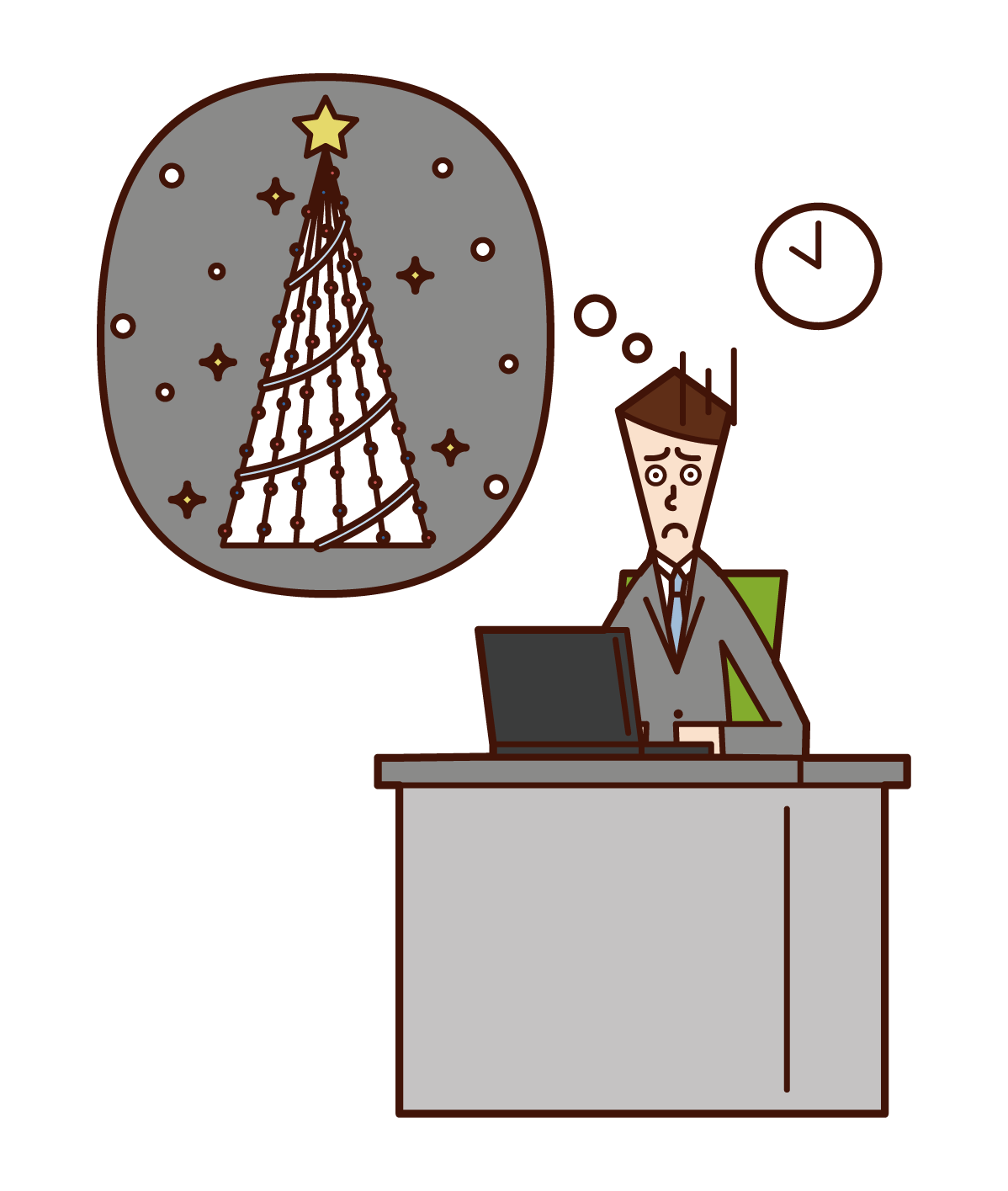 Illustration of a man working at Christmas