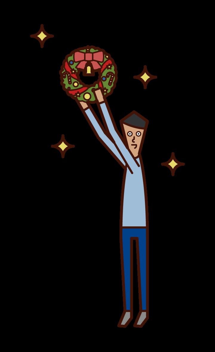 クリスマスリースを飾る子供(男子)のイラスト