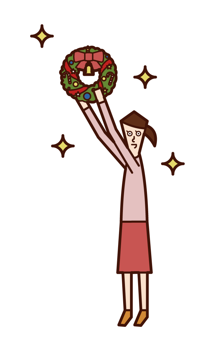 Illustration of a child (girl) decorating a Christmas wreath