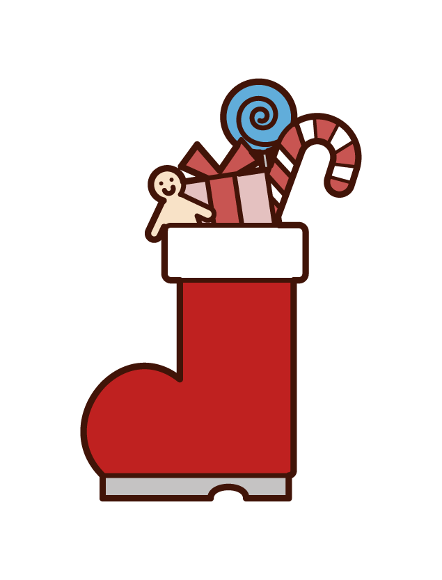 Illustration of Christmas Boots Presents