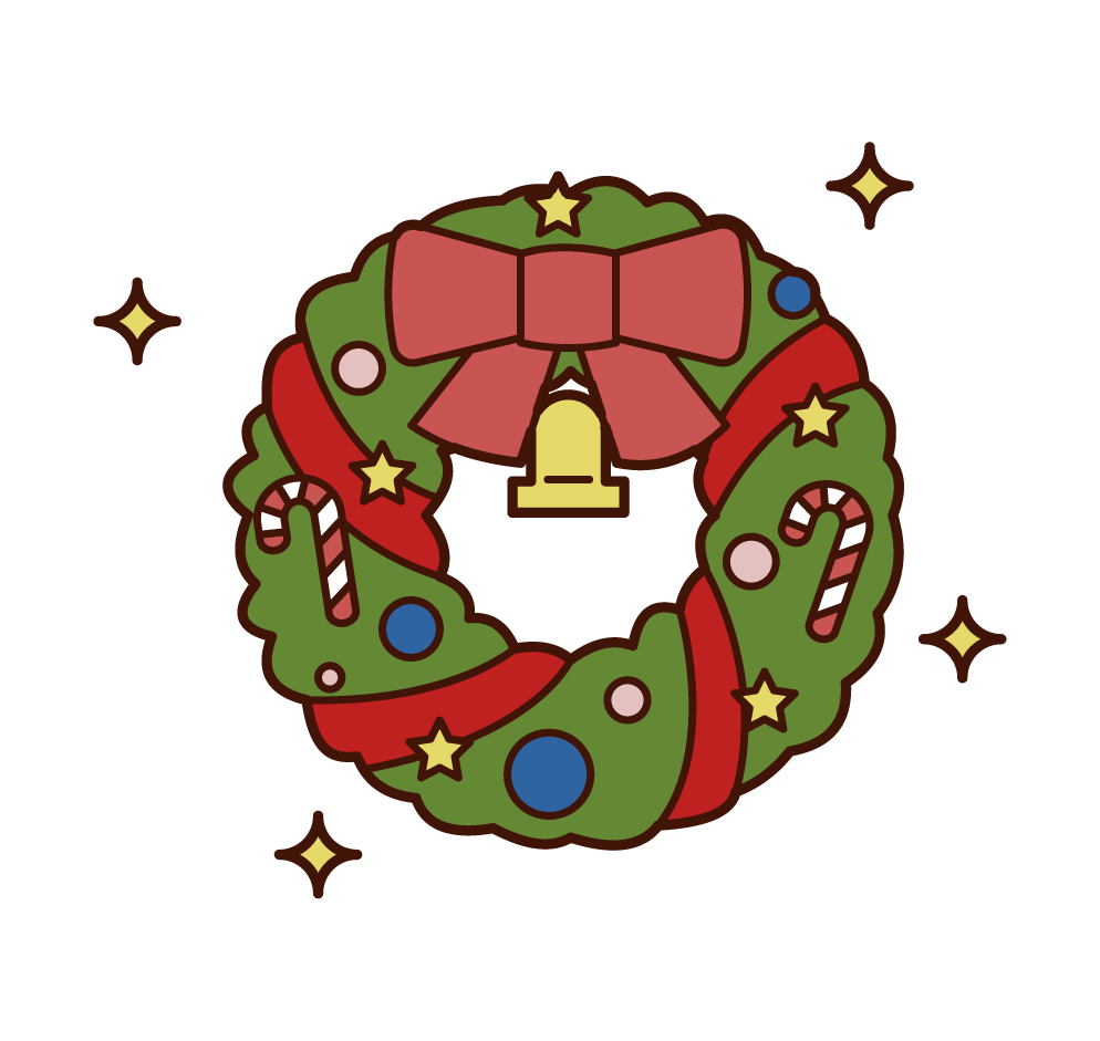 Illustrations of Christmas wreaths
