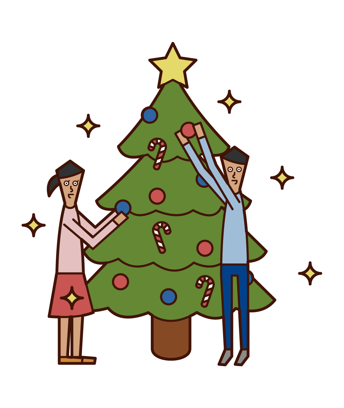 クリスマスツリーの飾り付けを楽しむ子供たち(男女)のイラスト