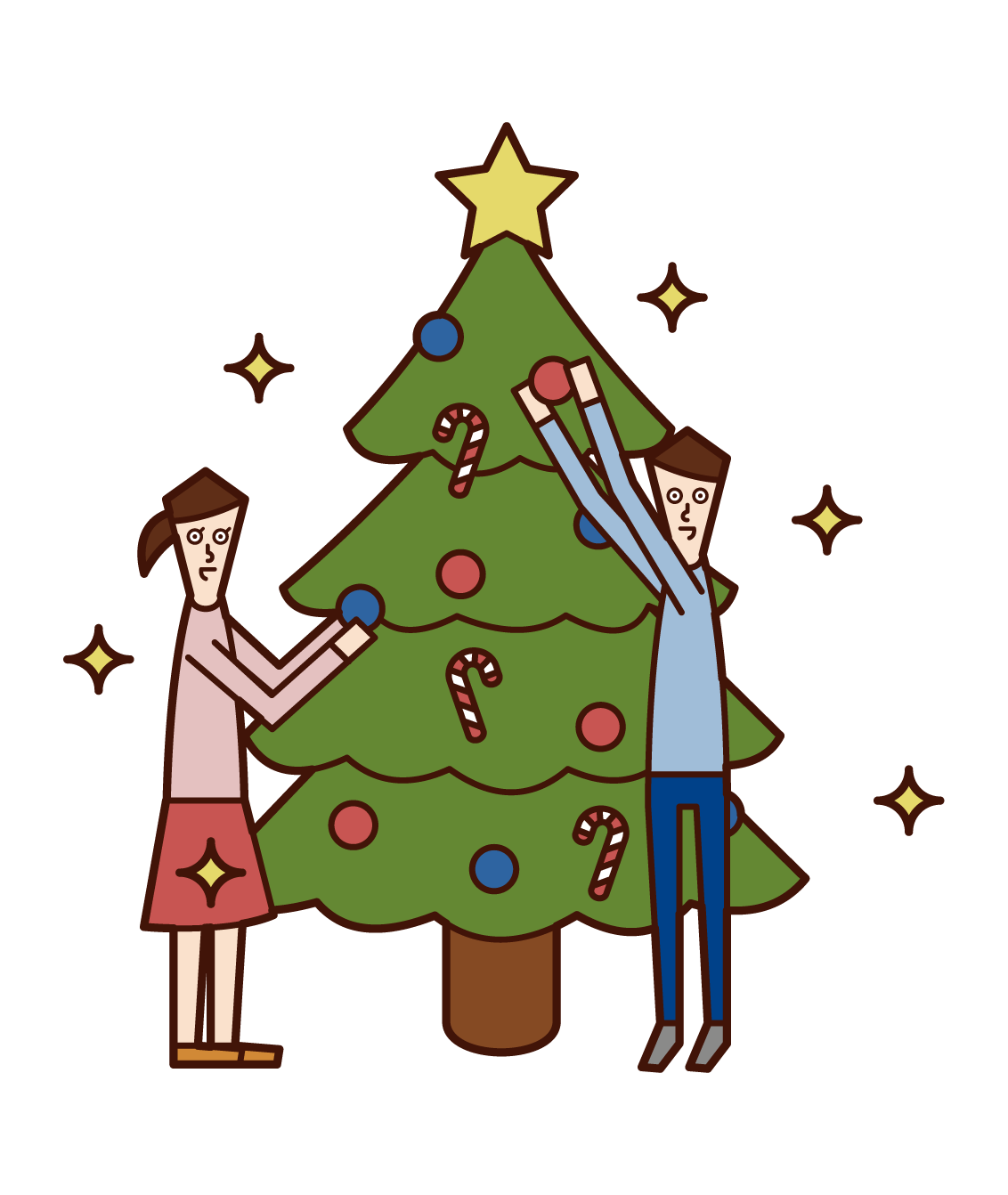 Illustrations of children (men and women) enjoying Christmas tree decorations