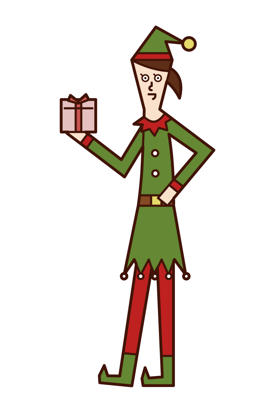 Illustration of a woman in a Christmas elf costume