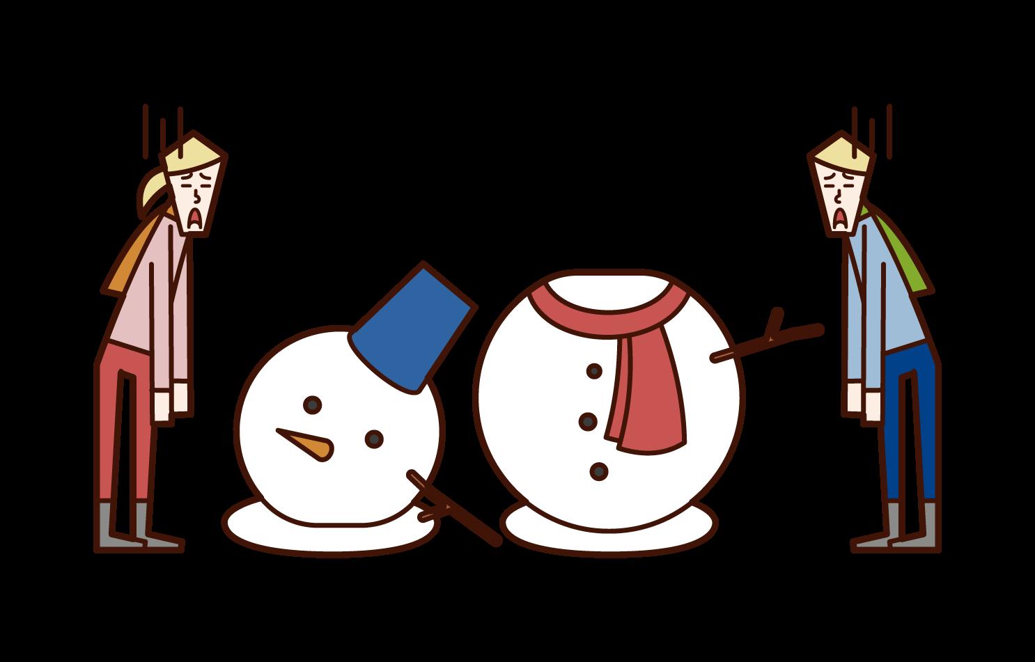 雪だるまが崩れて残念がる子供たちのイラスト