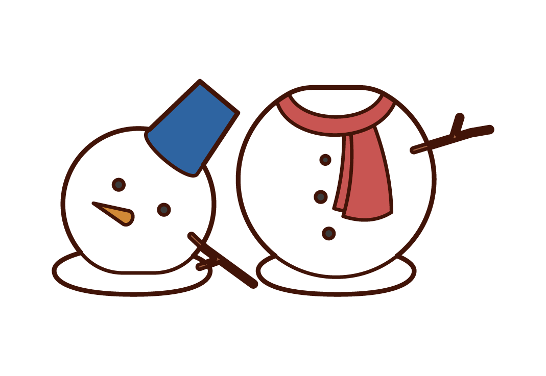 Illustration of a collapsed snowman