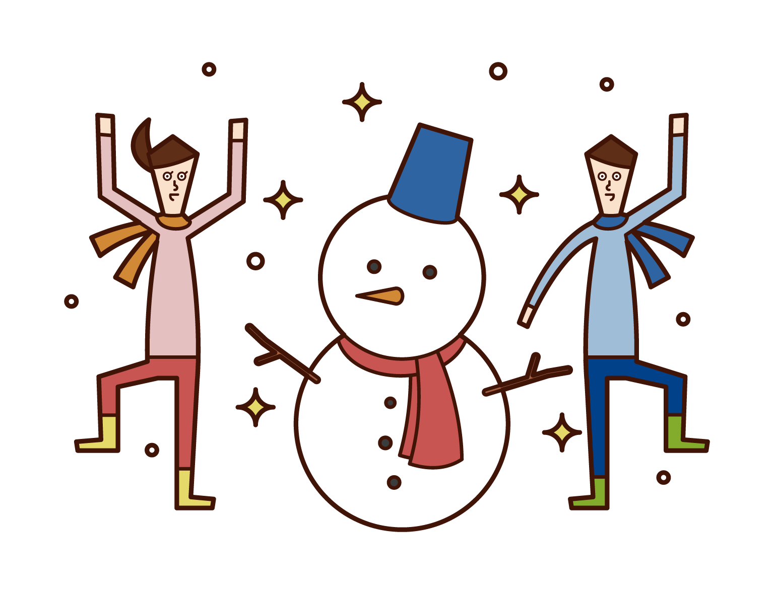 Illustrations of children making snowmen and enjoying themses