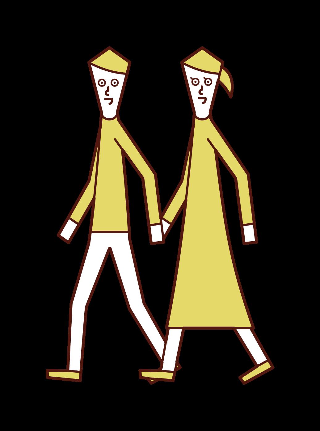 デートをするカップルのイラスト