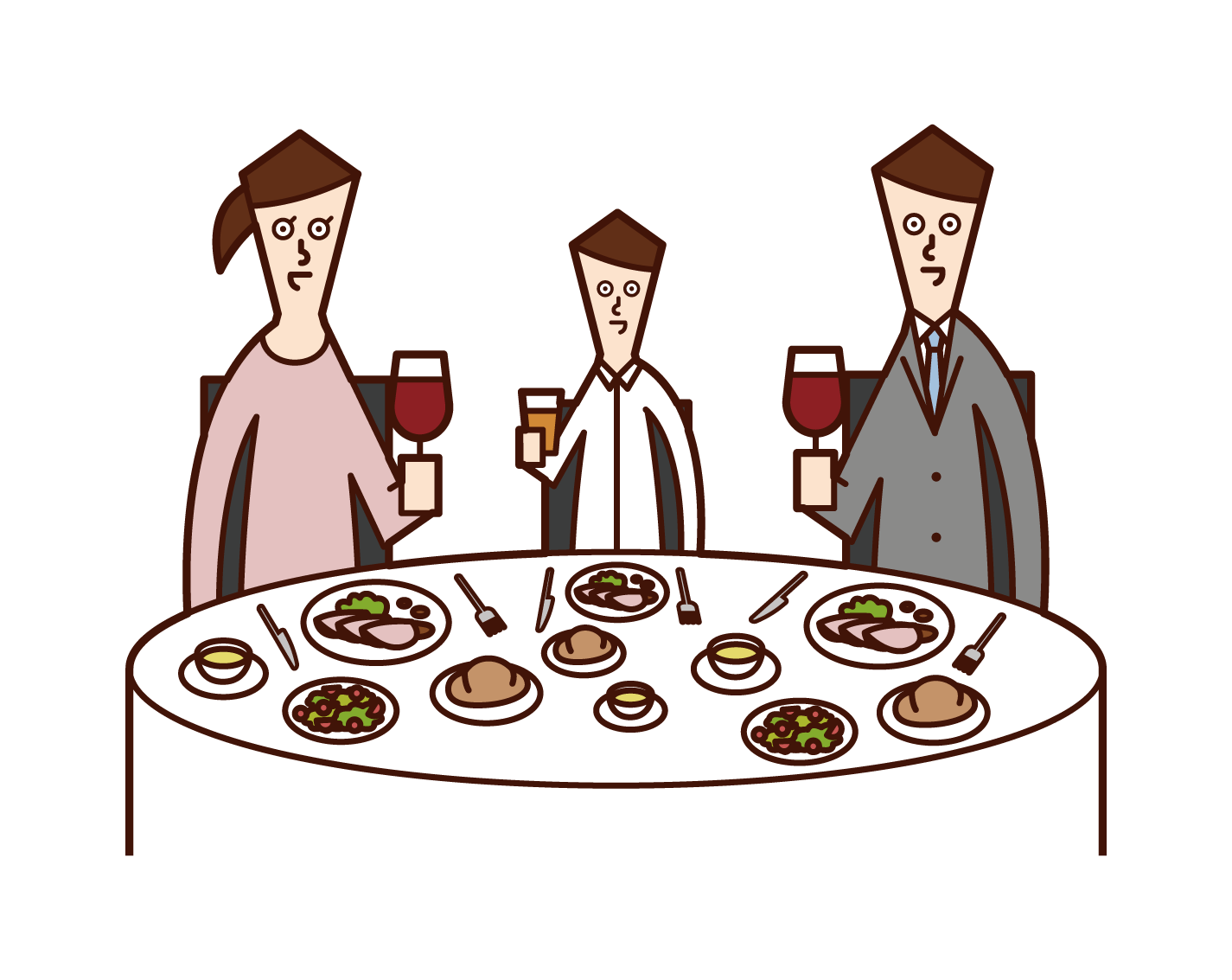 Illustration of a family enjoying a meal at a restaurant
