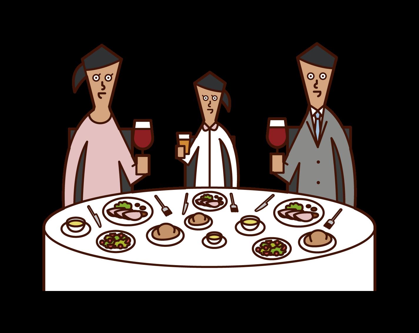 レストランで食事を楽しむ家族のイラスト
