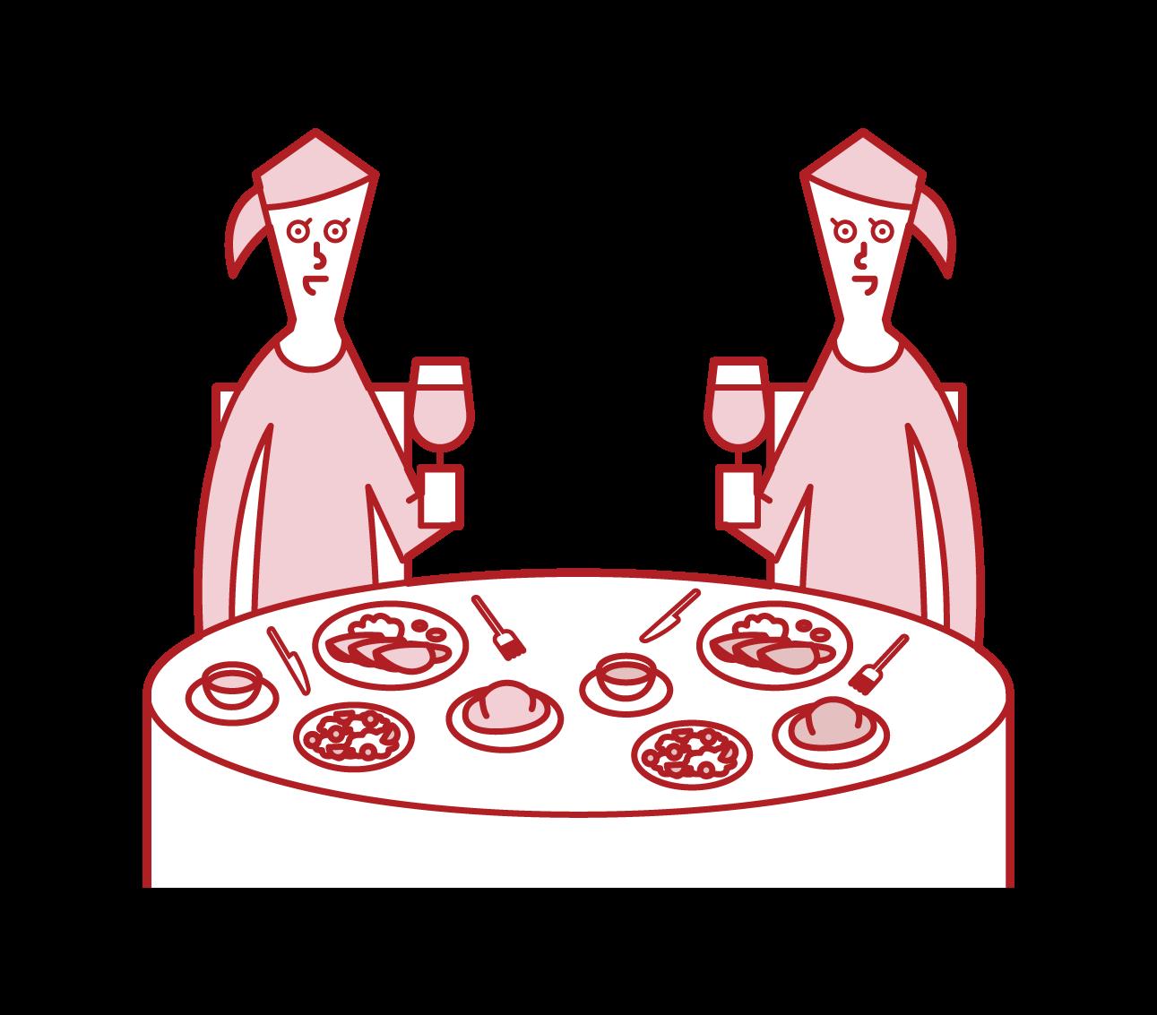 レストランでディナーを楽しむ人たち(女性)のイラスト