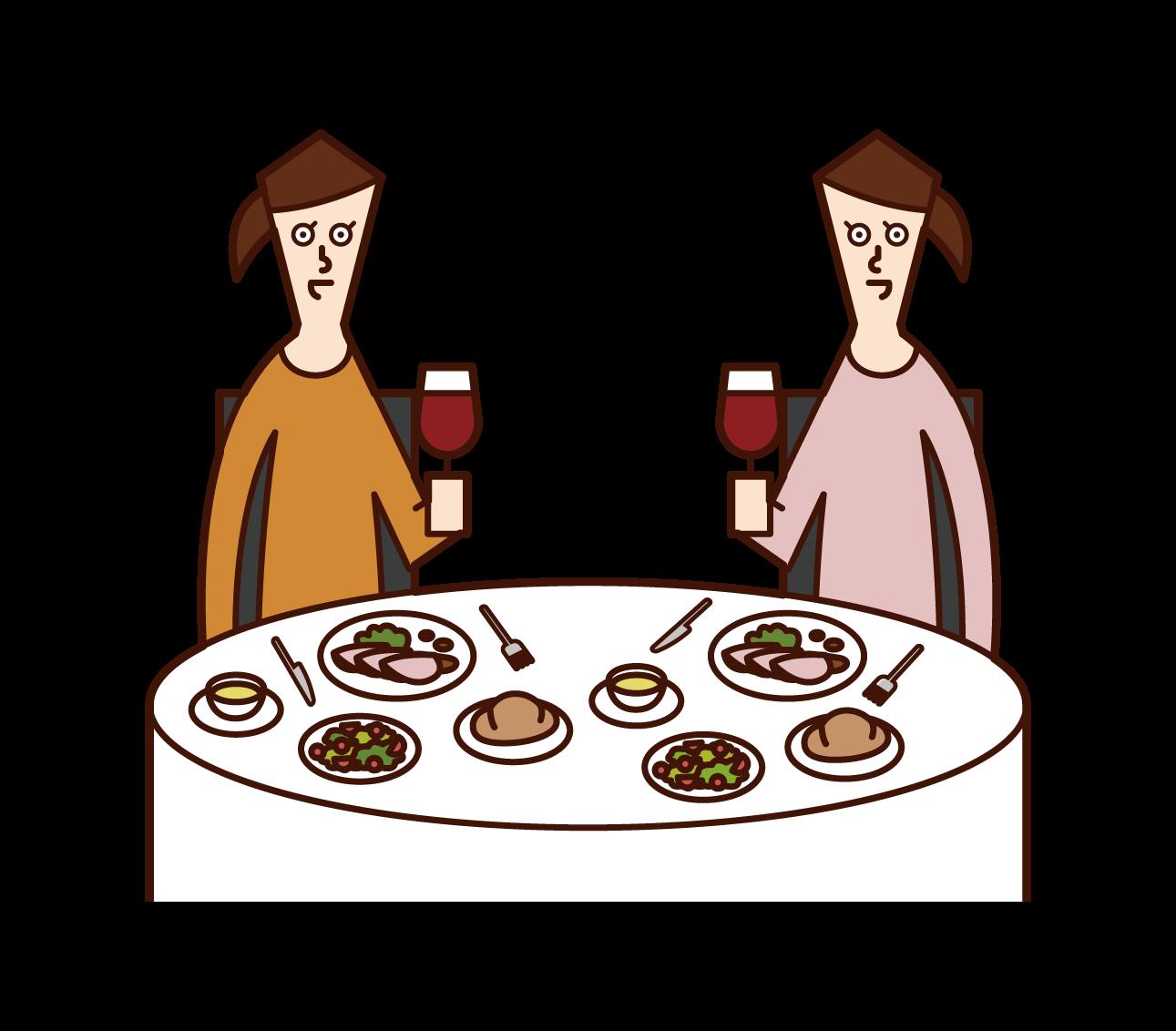 Illustration of people (women) enjoying dinner at a restaurant