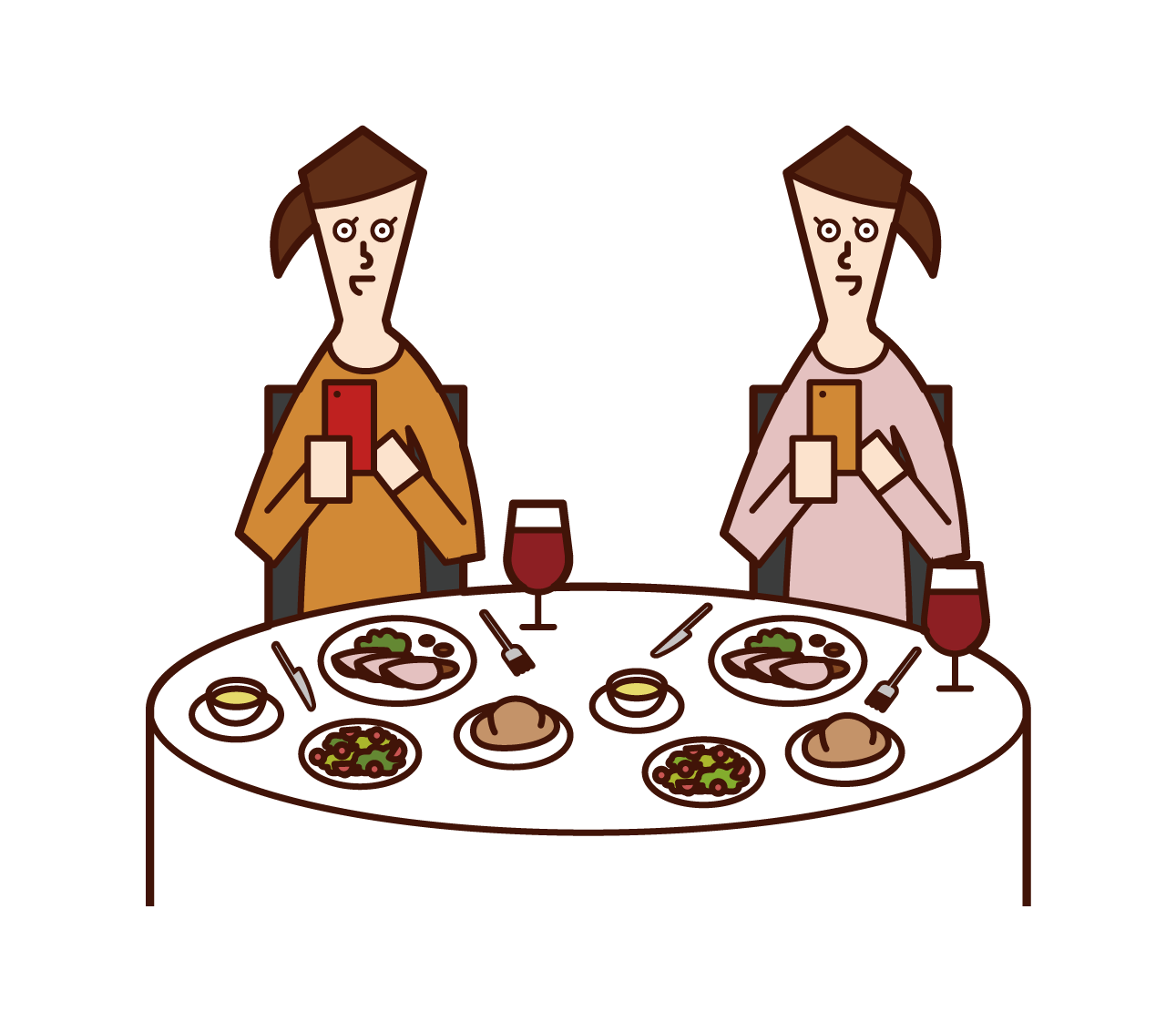 Illustration of people (women) taking pictures of food in restaurants