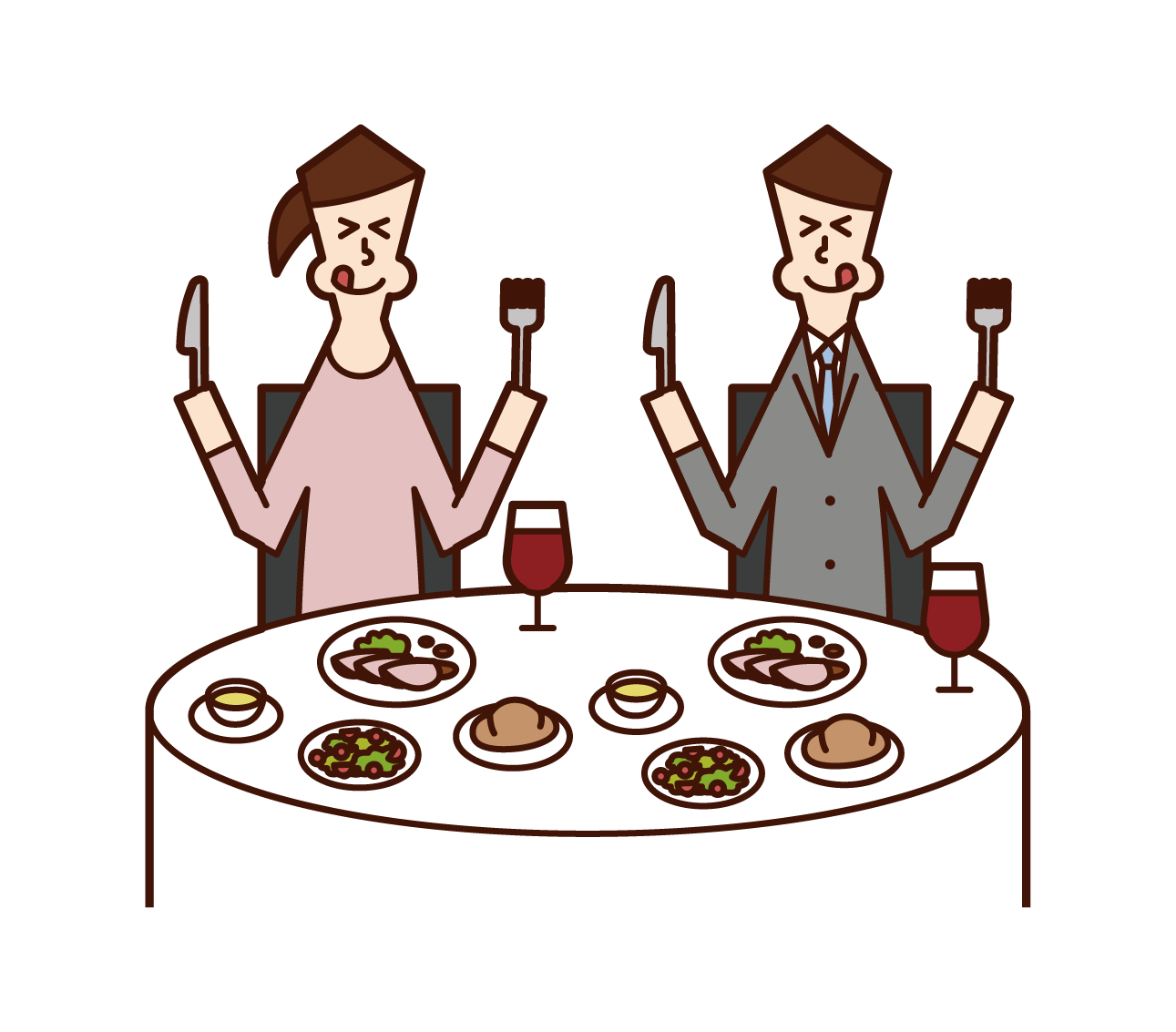 Illustration of a couple eating deliciously in a restaurant
