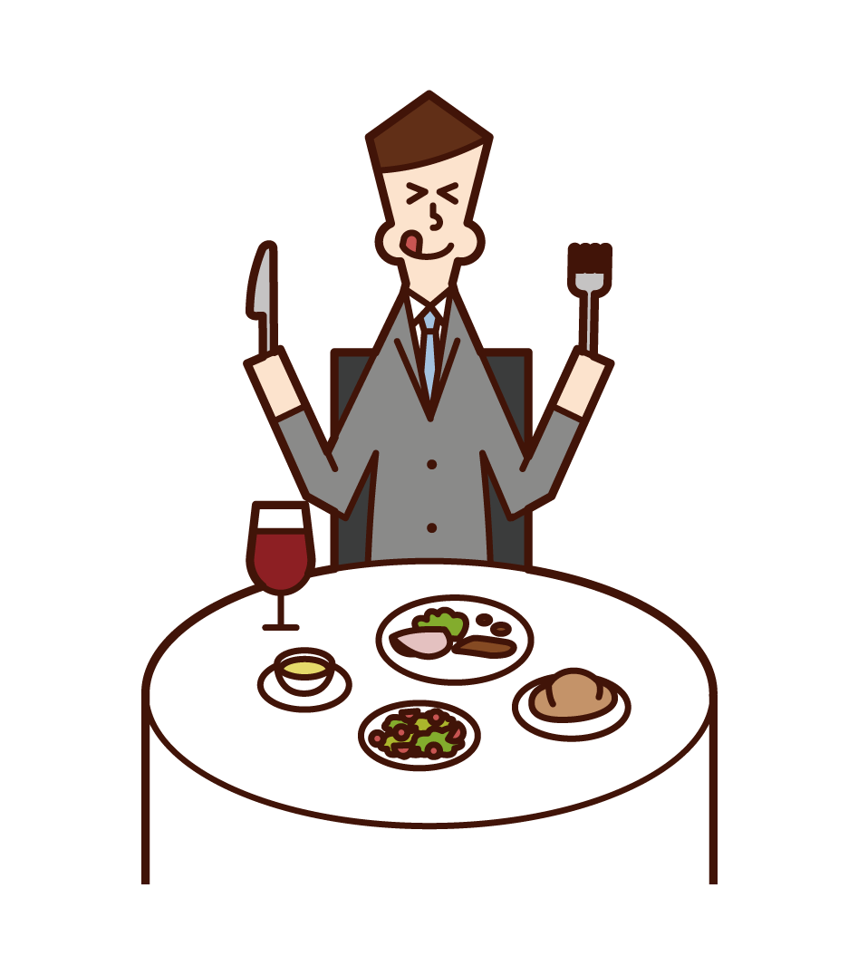 Illustration of a man eating deliciously in a restaurant
