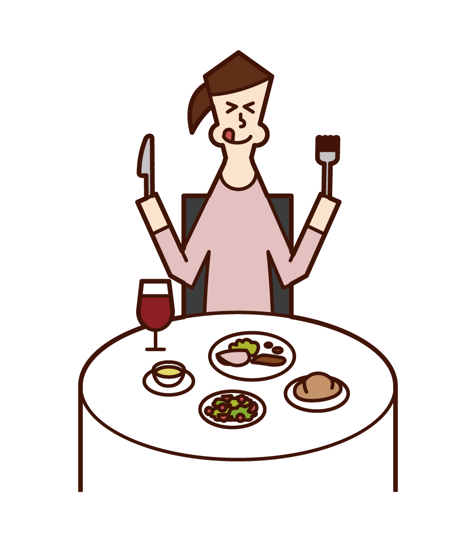 Illustration of a woman eating deliciously in a restaurant