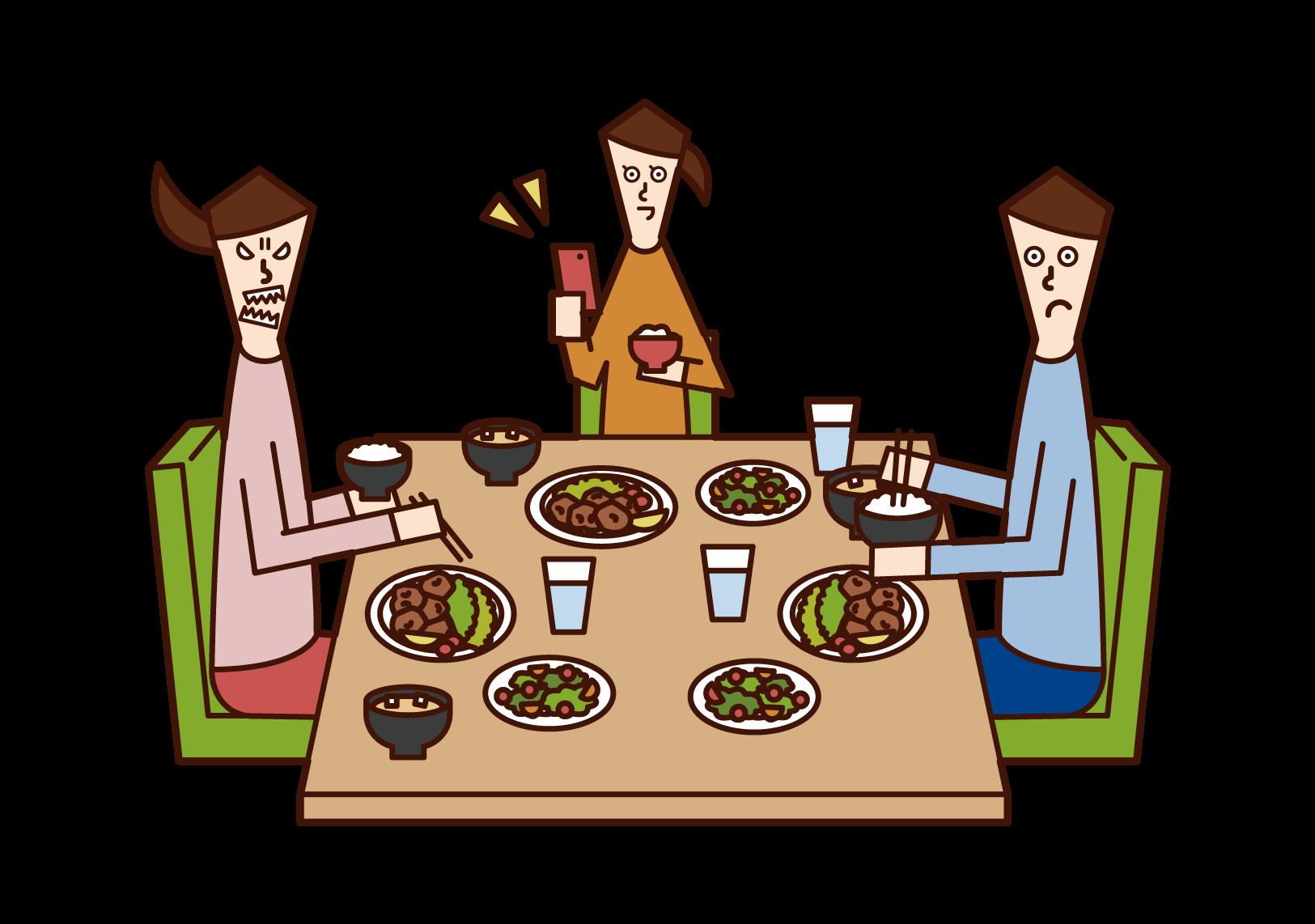 食事中にスマートフォンを使用する子供(女子)のイラスト