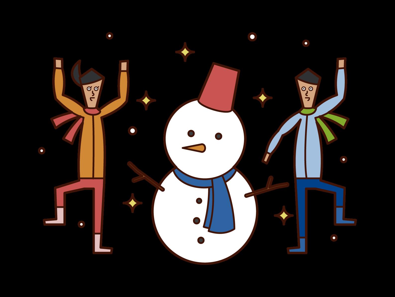 雪だるまを作って楽しむ子供たちのイラスト