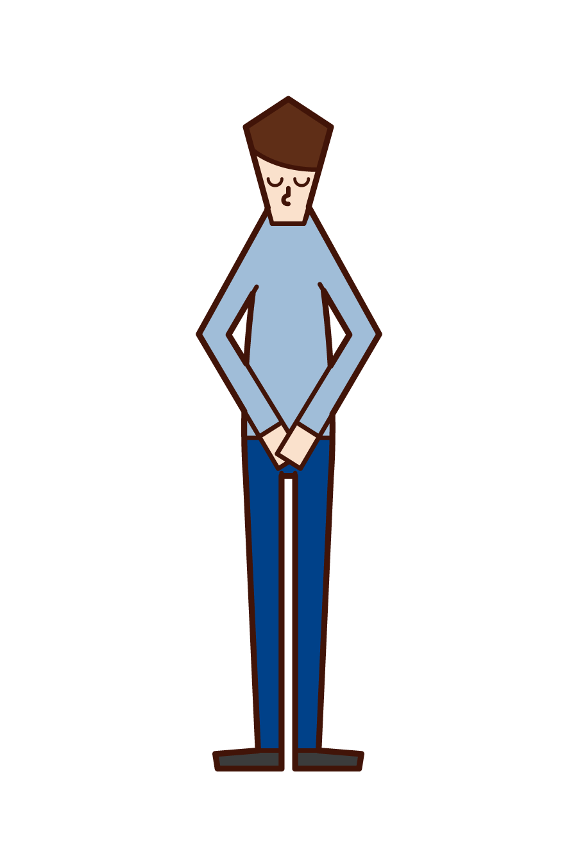 頭を下げてお礼をする人(男性)のイラスト