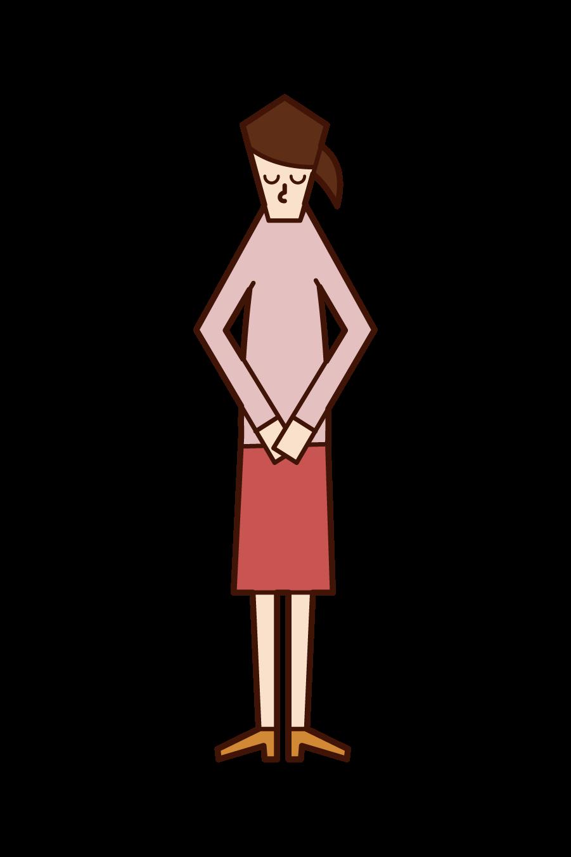 頭を下げてお礼をする人(女性)のイラスト