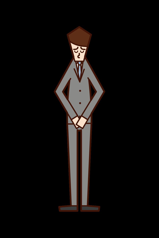 頭を下げて謝罪をする人(男性)のイラスト