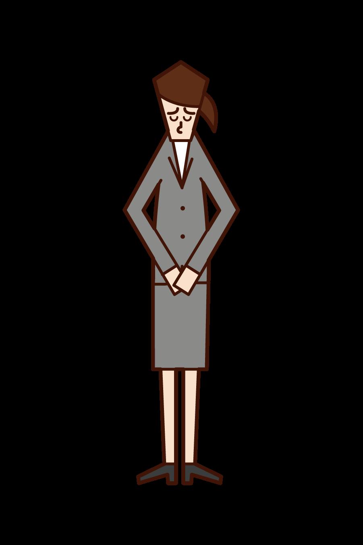 頭を下げて謝罪をする人(女性)のイラスト