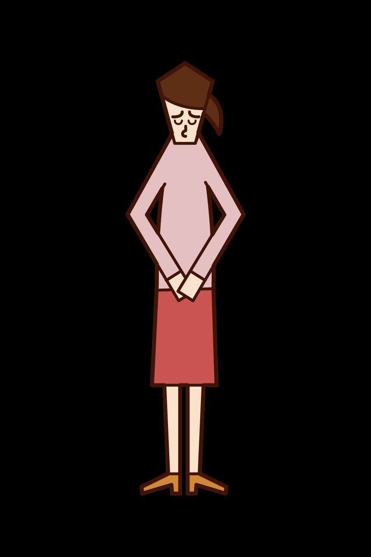 그녀의 머리를 숙이고 사과하는 여자의 그림