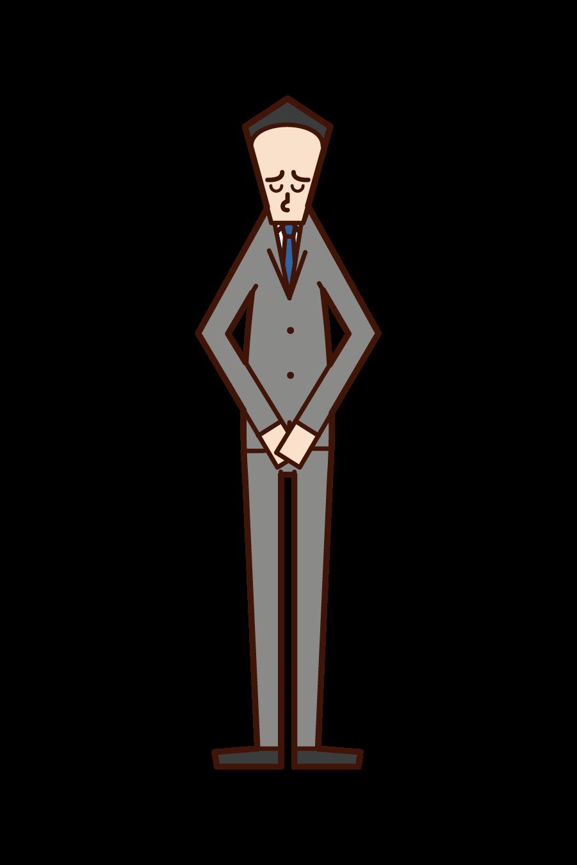 頭を下げて謝罪をする人(重役・社長)のイラスト