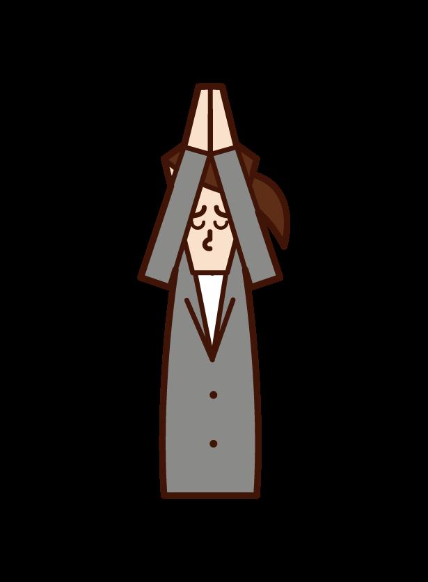 手を合わせて謝罪をする人(女性)のイラスト