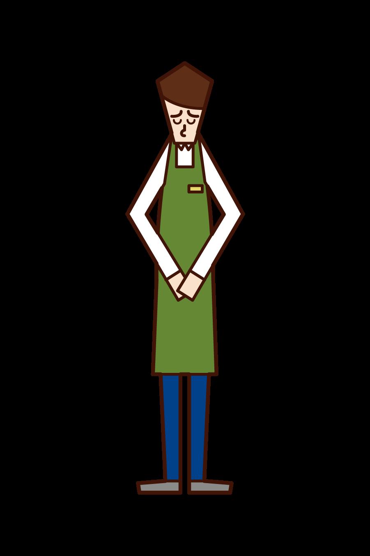 Illustration of a clerk (man) apologizing