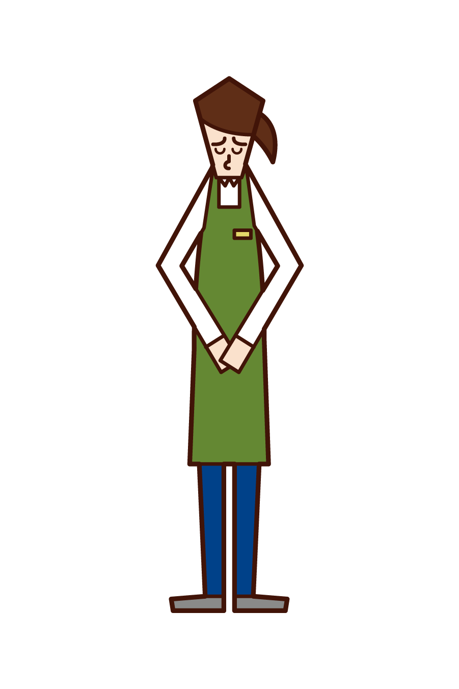 Illustration of a clerk (woman) apologizing