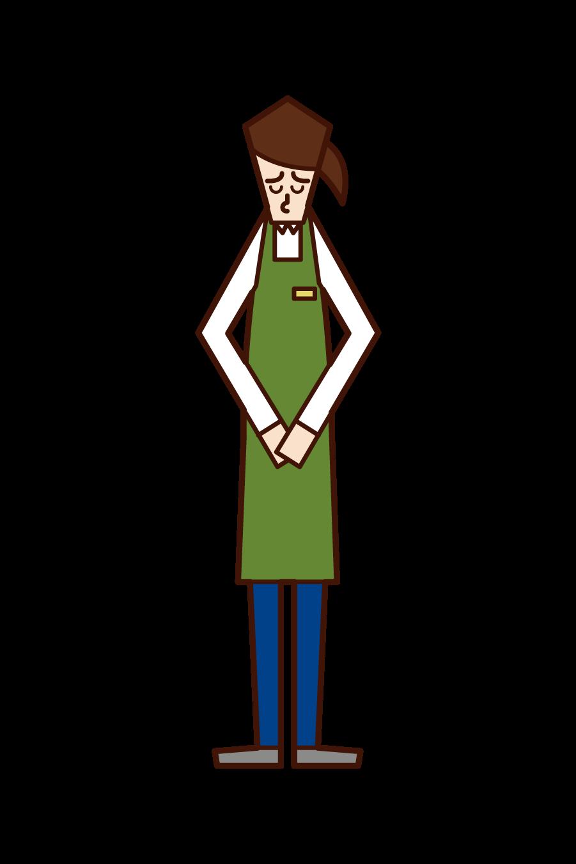 謝罪する店員(女性)のイラスト