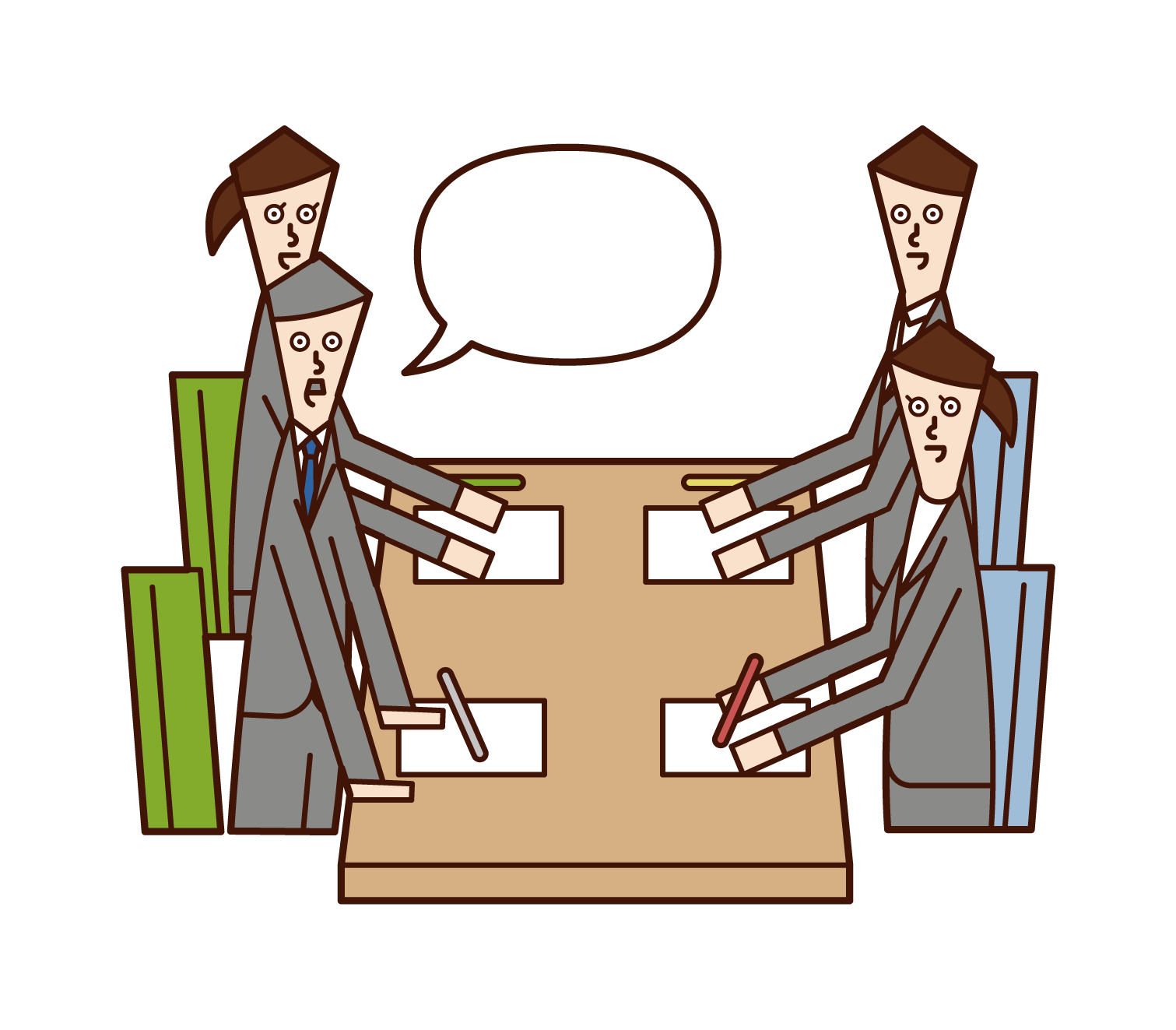 Illustration of a man speaking at a meeting