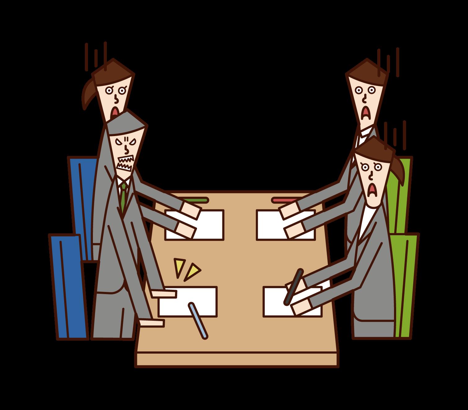 会議で怒る人(男性)のイラスト