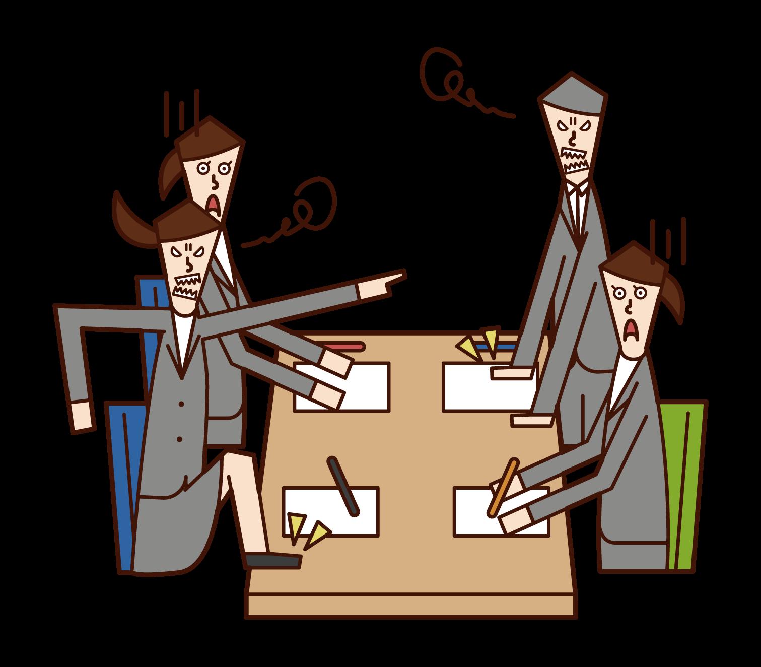 会議で喧嘩する人たちのイラスト
