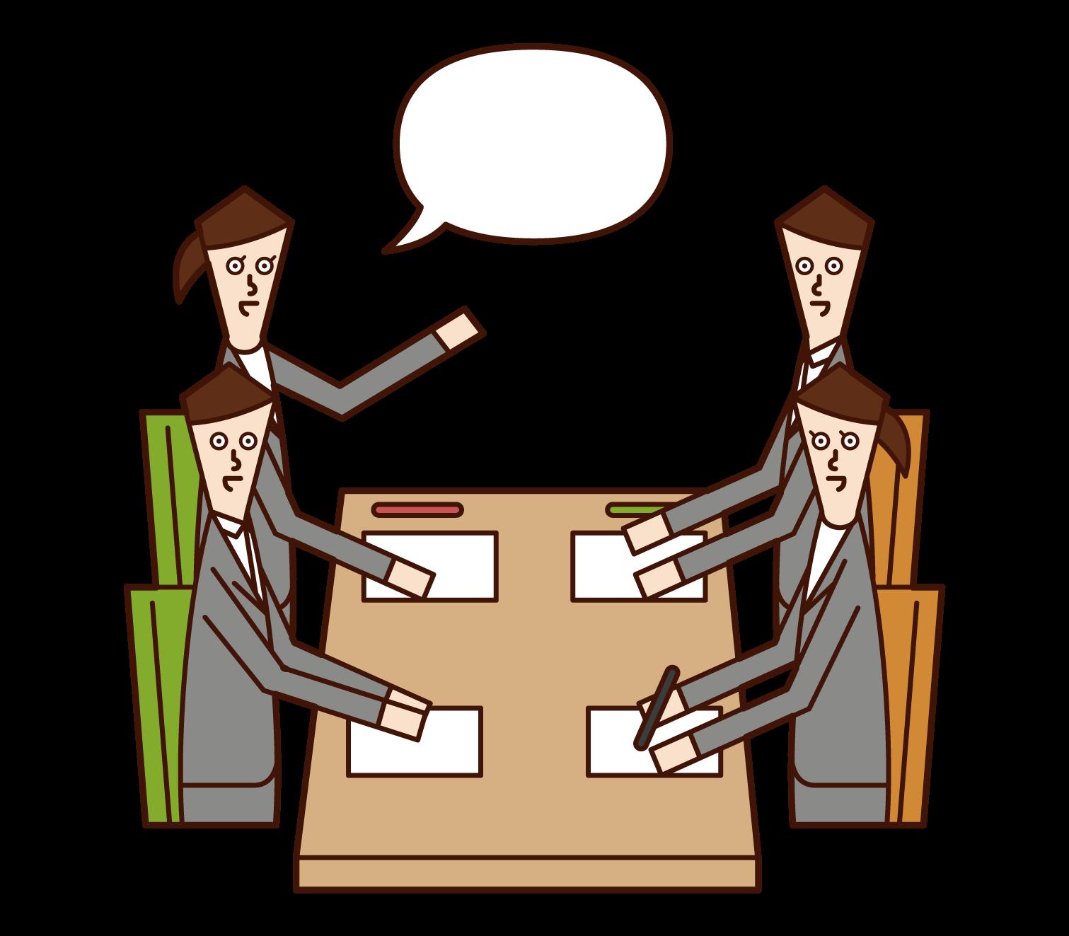 会議で提案する人(女性)のイラスト
