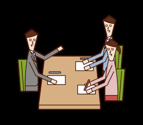 고객 서비스 및 상담 에 대한 일러스트레이션