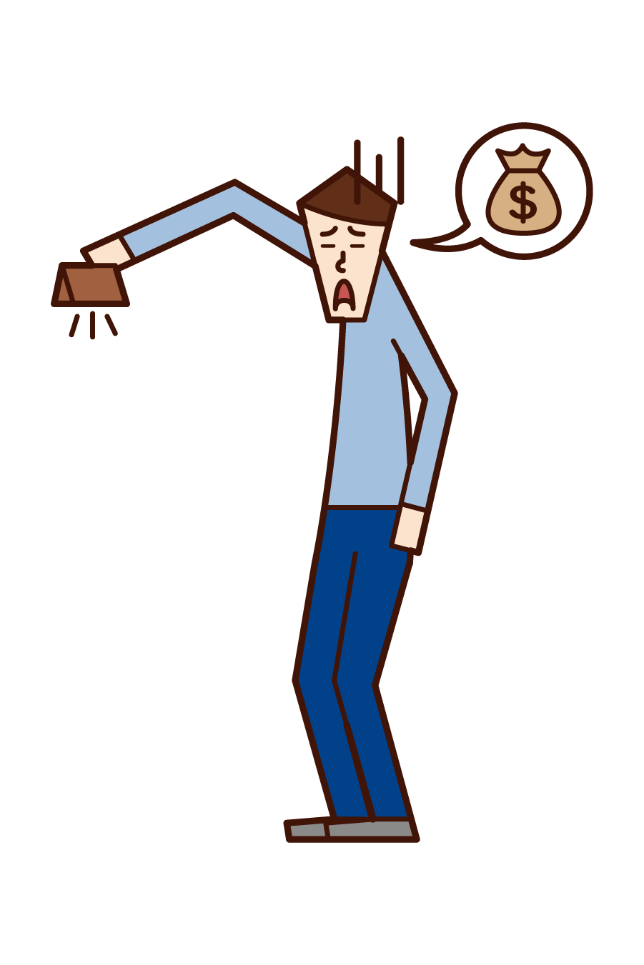 Illustration of a man who is out of money