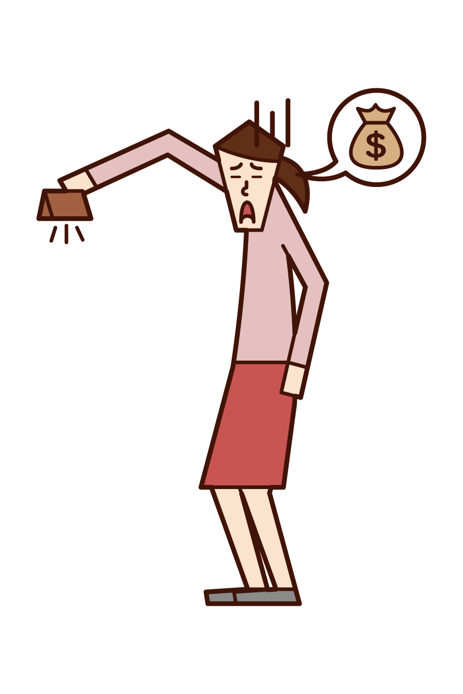 Illustration of a man (woman) who is out of money